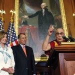 Nancy Pelosi, John Boehner, and the Dalai Lama being awarded the US Congressional Gold Medal in the US Capitol Rotunda.