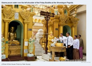 November 19 2012 Obama pours water on Friday Buddha at Swedegon Pagoda in Burma