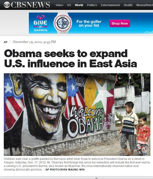 November 19 2012 Obama seeks to expand US influence in Asia Graffiti drawing of Obama smiling CBS News