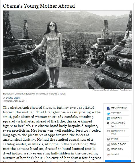 Stanley Ann Dunham Barack Hussein Obamas mother at Borobudur 1970