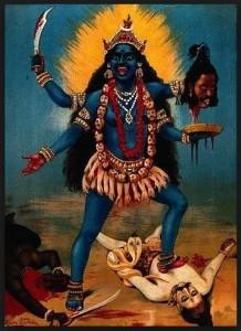 Kali the god of Time ruling over Shiva the transcendent goddess of the earth.